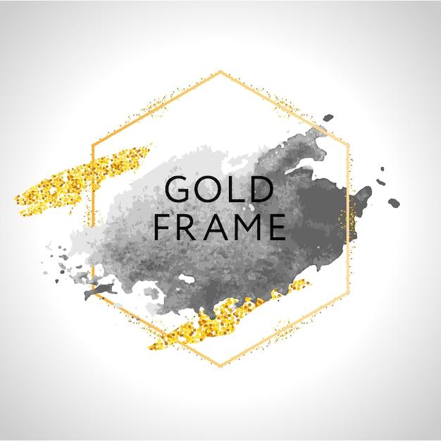 Traçados de pincel cinza, nude, pêssego, dourado e manchas em moldura redonda de ouro sobre fundo branco. ilustração. Vetor Premium