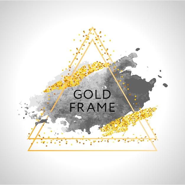 Traçados de pincel cinza, nude, pêssego, dourado e manchas em moldura redonda de ouro sobre fundo branco. Vetor Premium