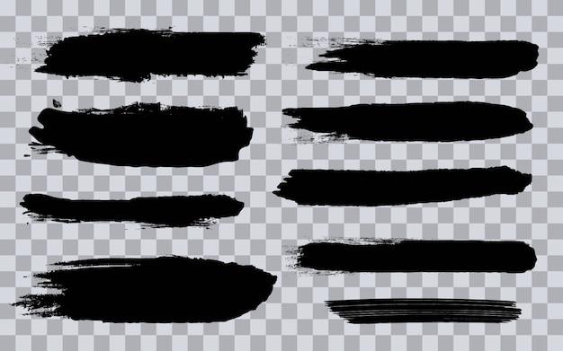 Traçados de pincel preto grunge áspero. Vetor Premium