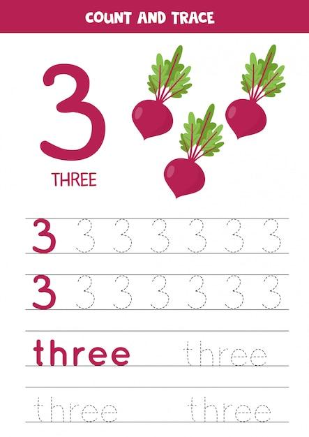 Traçando a palavra três e o número 3. imagens de beterraba em cartum. Vetor Premium