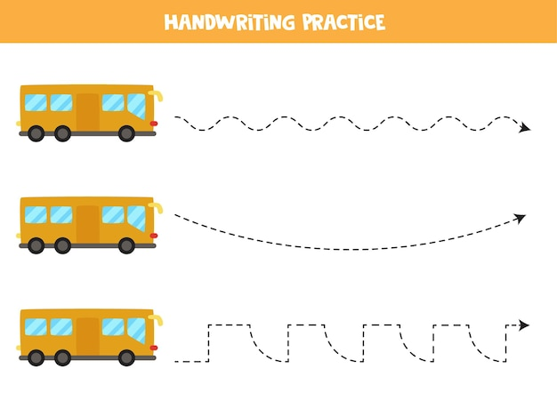 Traçando linhas para crianças com ônibus de desenho animado. prática de caligrafia para crianças. Vetor Premium