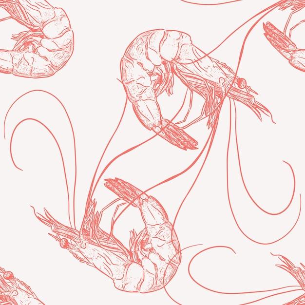 Tração da mão do vetor sem emenda do teste padrão do camarão. Vetor Premium