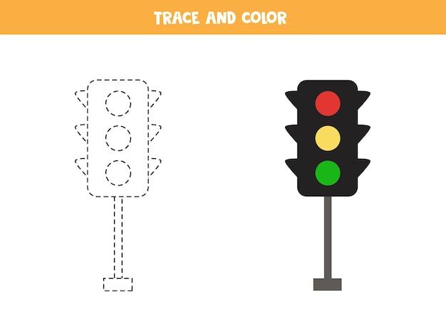 Traçar e colorir os semáforos dos desenhos animados. jogo educativo para crianças. prática de escrita e coloração. Vetor Premium