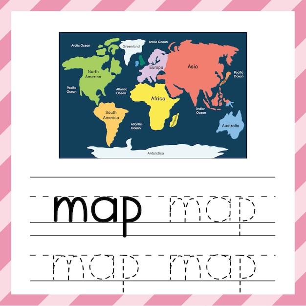 Trace a palavra - mapa. planilha educacional para crianças. rastreamento de material prático para a escola e pré-escola. cartão flash com a palavra do mapa. ilustração vetorial Vetor Premium