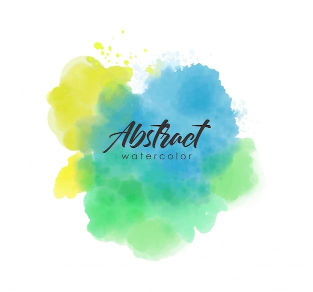 Traço de tinta aquarela, cor de respingo abstrato, vetor de efeito aquarela, textura colorida de azul, verde e amarelo Vetor Premium
