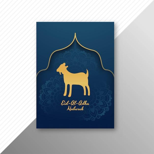Tradicional eid al adha mubarak com design de brochura de cabra Vetor grátis