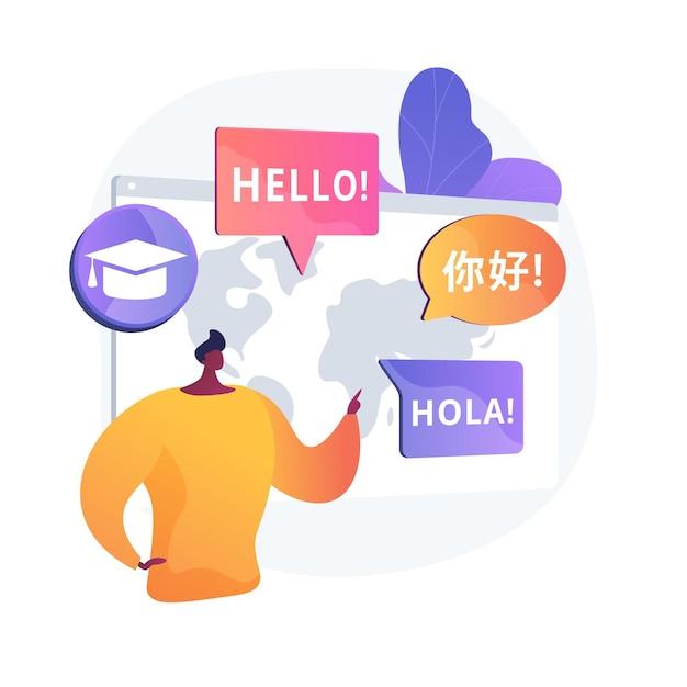 Tradução de línguas estrangeiras. ciências linguísticas, tradução automática, programa de intercâmbio de estudantes universitários. cursos de aprendizagem de línguas. Vetor grátis