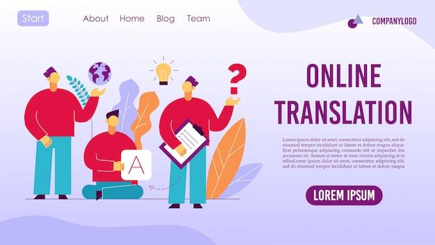 Tradução on-line de intérprete de língua estrangeira Vetor Premium