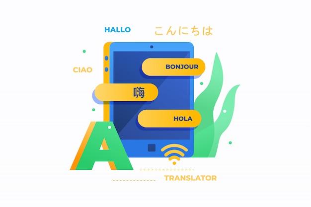 Tradutor online. olá inscrição em francês, italiano, espanhol, alemão, chinês e japonês. conceito de educação. imagem plana. Vetor Premium
