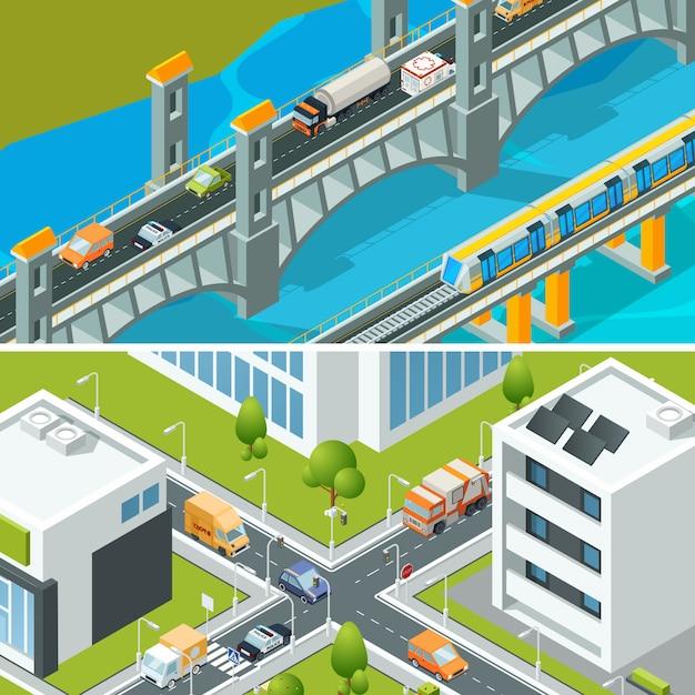 Tráfego de cruzamento de rodovia. paisagem urbana isométrica com vários veículos veículos ônibus cidade ocupada ilustração 3d Vetor Premium