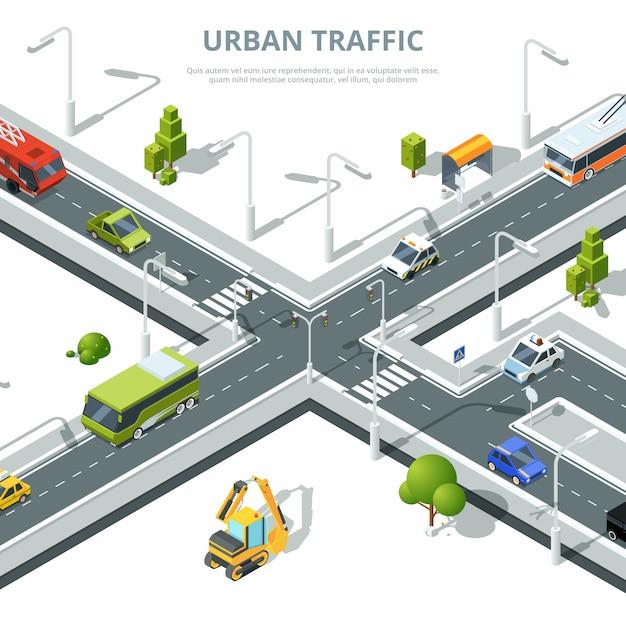 Tráfego urbano com carros diferentes Vetor Premium