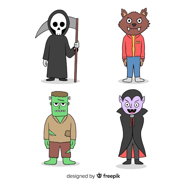 Traje de personagem de halloween de mão desenhada Vetor grátis