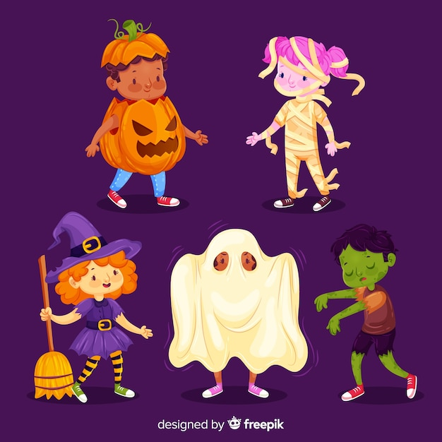 Trajes bonitos do dia das bruxas para crianças Vetor grátis
