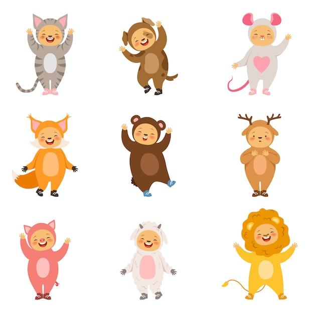 Trajes de festa de crianças de animais engraçados dos desenhos animados. fotos de vetor isolar Vetor Premium