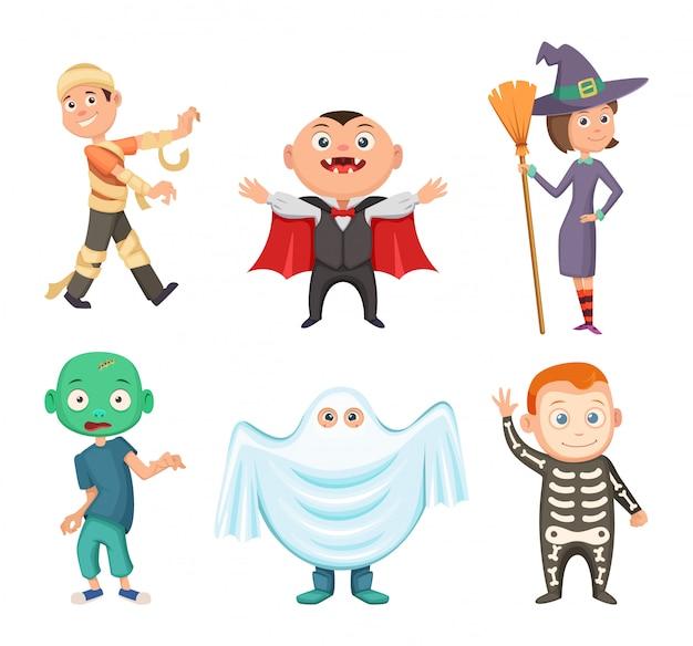 Trajes de halloween para as crianças. zumbi, vampiro, bruxa e fantasma engraçado. conjunto de traje para festa de halloween, ilustração vetorial Vetor Premium