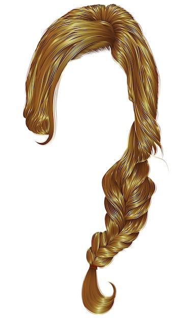 Trança de cabelos na moda mulheres. trança trança. moda estilo de beleza. 3d realista. cor loira. Vetor Premium