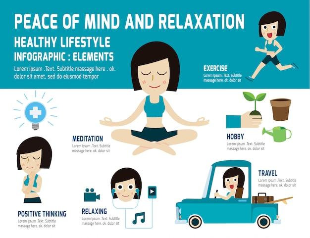 Tranquilidade para relaxar o estilo de vida saudável. meditação, aliviar a saúde, elemento infográfico, conceito de cuidados de saúde Vetor Premium