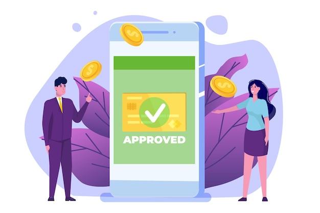 Transação aprovada, transações financeiras, pagamento não em dinheiro, moeda monetária, conceito de nfc de pagamento. Vetor Premium