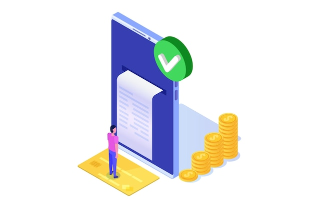 Transação aprovada, transações financeiras, pagamento não em dinheiro, moeda monetária, conceito isométrico de nfc de pagamento. Vetor Premium