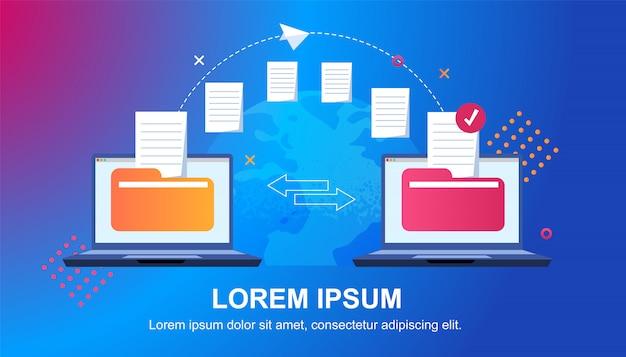 Transferência de arquivo. arquivos transferidos para o formulário criptografado Vetor Premium