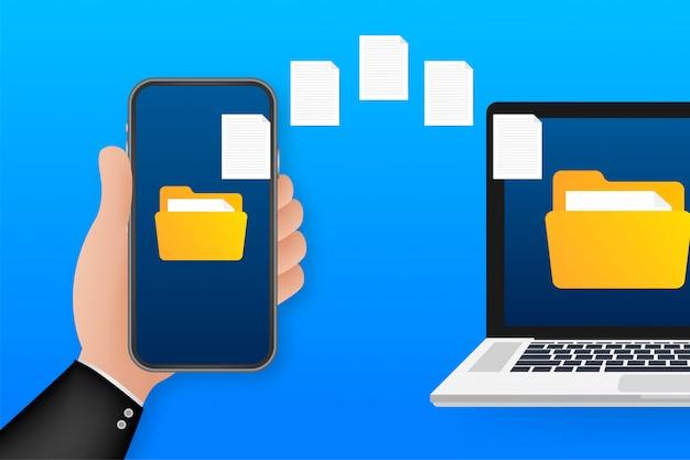 Transferência de arquivos de imagem de dados entre o dispositivo smartphone. transferência de arquivos copiar arquivos conceito de troca de folha de dados. ilustração. Vetor Premium