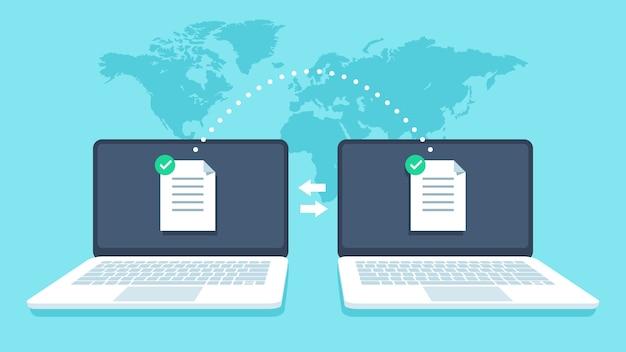 Transferência de arquivos de notebooks. transmissão de dados, receptor de arquivos ftp e cópia de backup do notebook. conceito de vetor de compartilhamento de documentos Vetor Premium