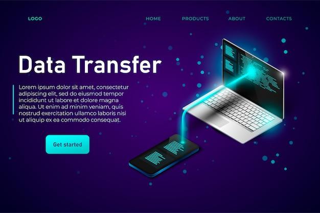 Transferência de dados do telefone para o desktop. os arquivos de dados trocam telefone e laptop isométricos com a página de destino da linha de conexão Vetor Premium