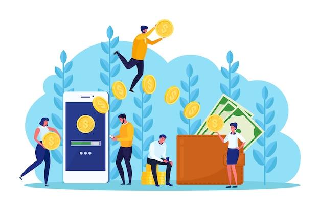 Transferência de dinheiro com carteira digital, bancário, pessoas. reembolso, recompensa. mão humana segurando o telefone móvel com bolsa com dinheiro, moeda, cartão de crédito, nota de dólar. pagamento online. projeto Vetor Premium