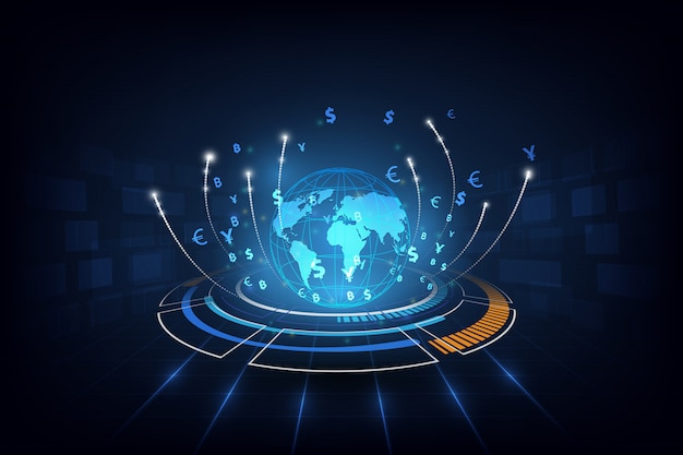 Transferência de dinheiro global currency stock exchange Vetor Premium