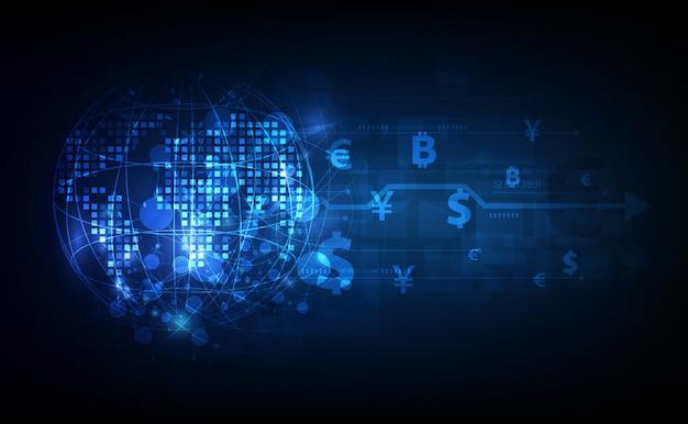 Transferência de dinheiro. moeda global. bolsa de valores. estoque. Vetor Premium