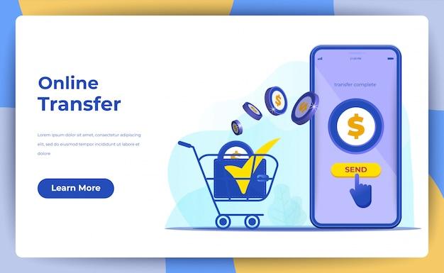 Transferência de dinheiro on-line com o conceito de telefone móvel. para página de destino da web Vetor Premium