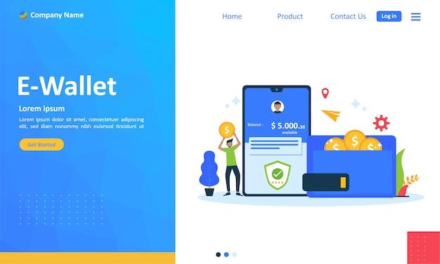 Transferência de dinheiro para o conceito de e-wallet para a página de destino da web Vetor Premium
