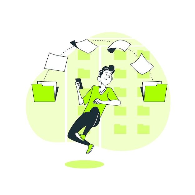 Transferir arquivos ilustração do conceito Vetor grátis