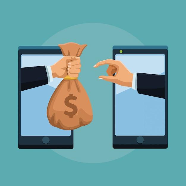 Transferir dinheiro online a partir do smartphone Vetor Premium
