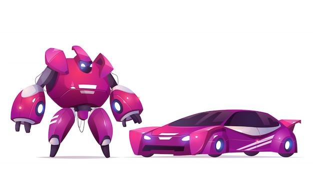 Transformador de robô e carro esportivo, robótica e ciborgue de tecnologias de inteligência artificial, personagem de exoesqueleto de combate militar, brinquedo de crianças batalha alienígena guerreiro cibernético crianças, ilustração vetorial dos desenhos animados Vetor grátis