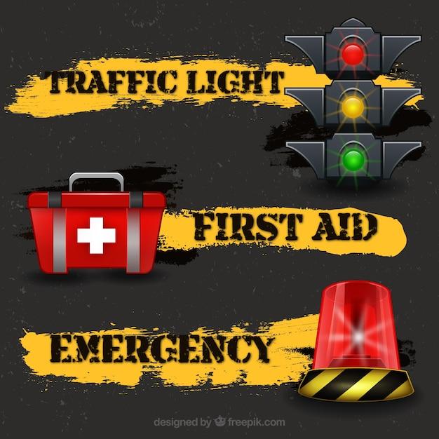 Trânsito e emergências Vetor grátis