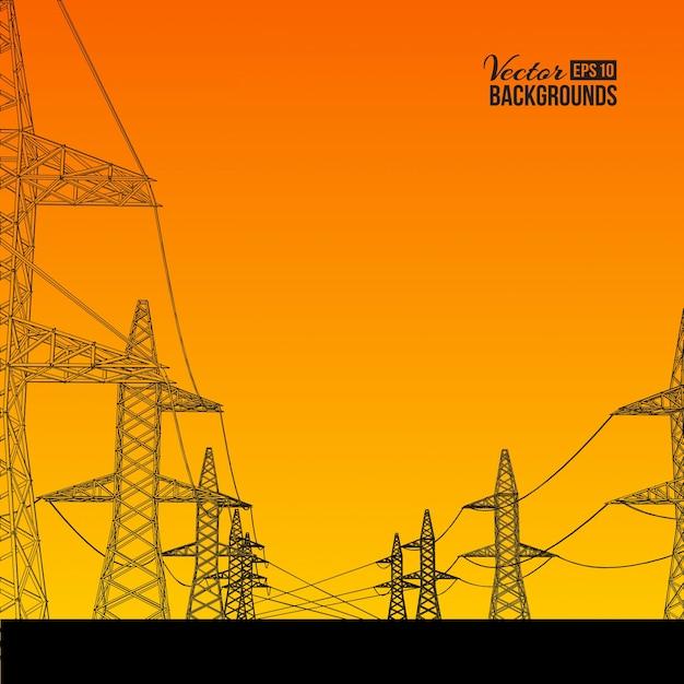 Transmissão de energia elétrica. Vetor grátis