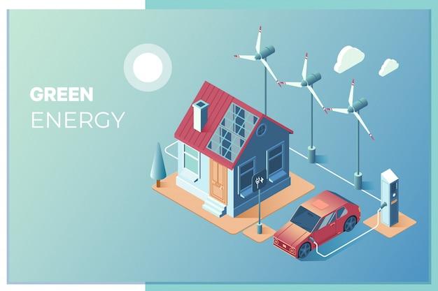 Transmissão de energia solar e eólica para uso em casa Vetor Premium