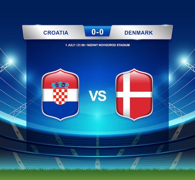 Transmissão de placar croácia vs dinamarca para o futebol 2018 Vetor Premium