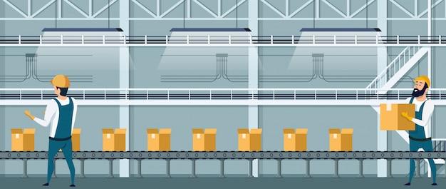 Transportador de embalagem de armazém usando recursos humanos Vetor Premium