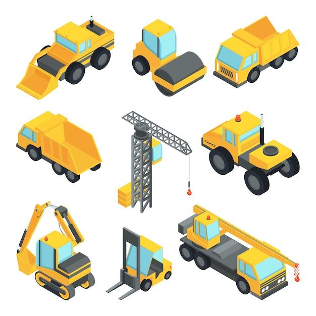 Transporte 3d para a indústria da construção civil Vetor Premium