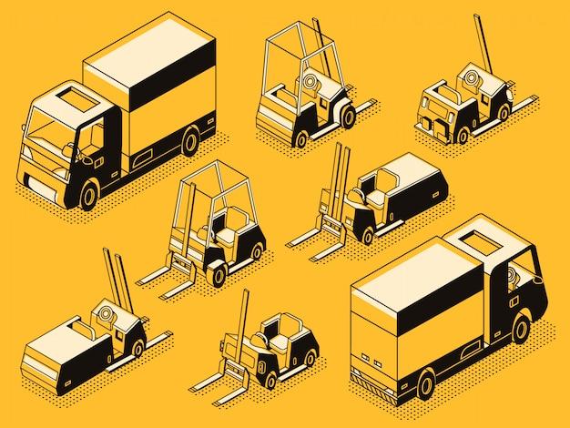 Transporte comercial e máquinas de carregamento hidráulico linha arte preta Vetor grátis