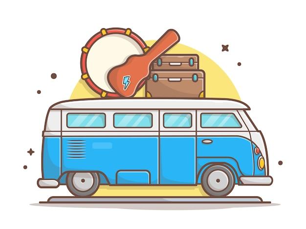 Transporte da excursão da música do carro com cilindro, guitarra e mala icon vector illustration. veículo e conceito de ícone de música branco isolado Vetor Premium