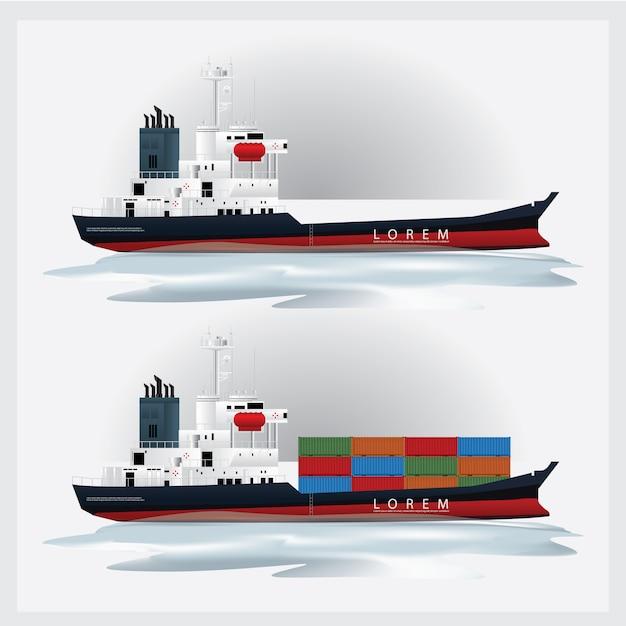 Transporte de carga com ilustração vetorial de recipientes Vetor Premium