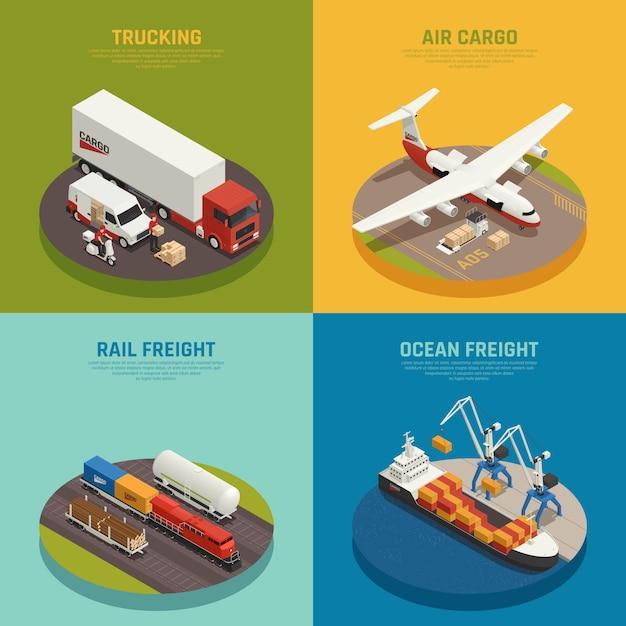 Transporte de carga, incluindo transporte marítimo e ferroviário de mercadorias, transporte aéreo isométrico Vetor grátis