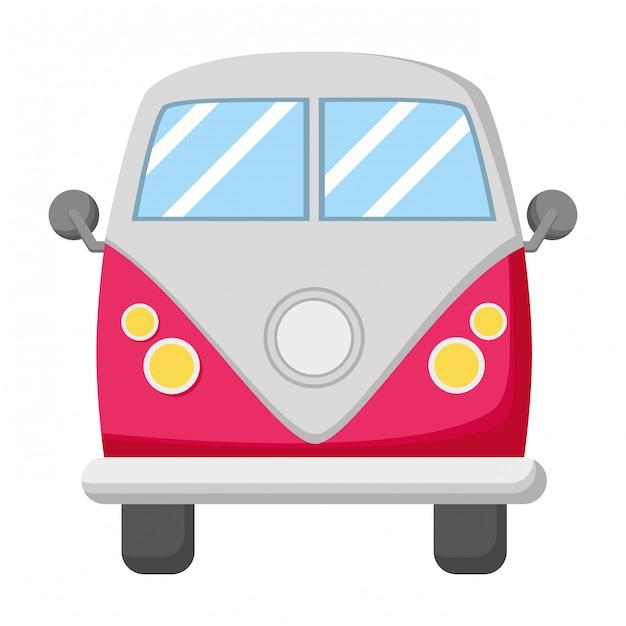 Transporte de carro van retrô Vetor Premium