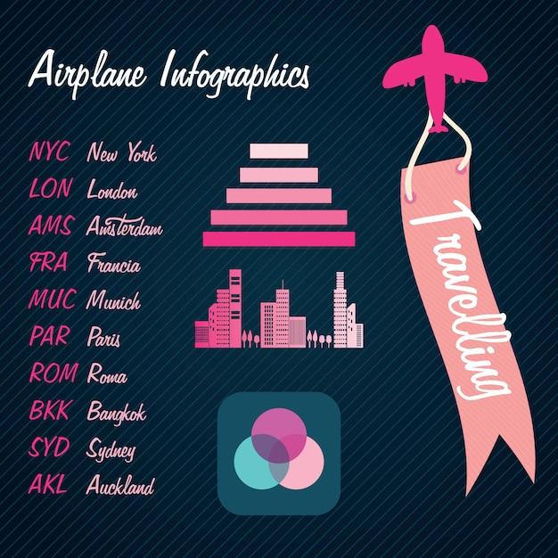 Transporte de informações de voo colorido infográficos sobre fundo escuro Vetor Premium