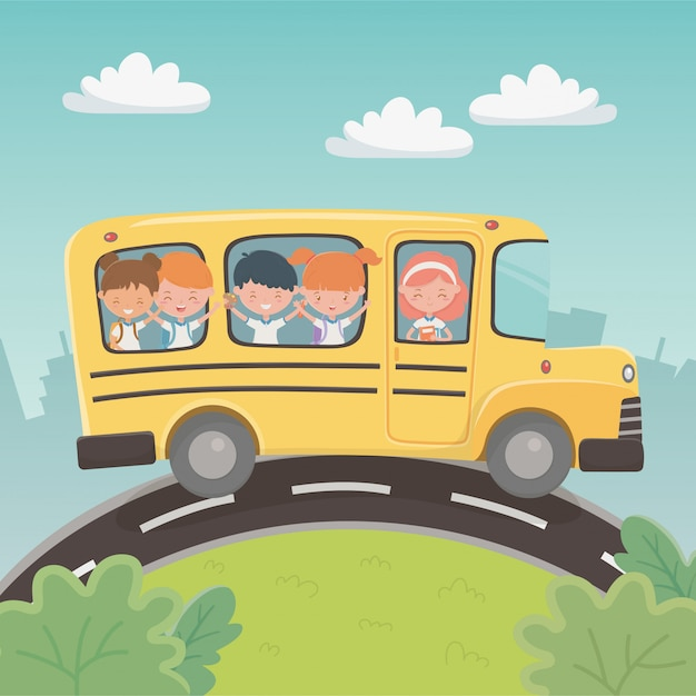 Transporte de ônibus escolar com um grupo de crianças na paisagem Vetor grátis