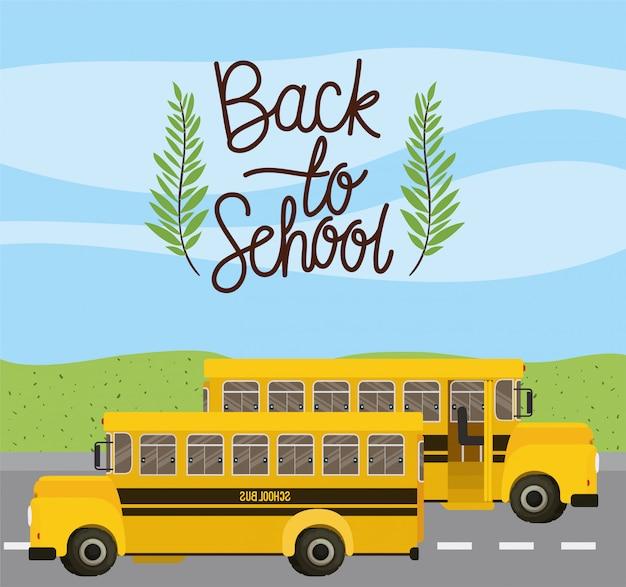 Transporte de ônibus escolar na estrada Vetor grátis
