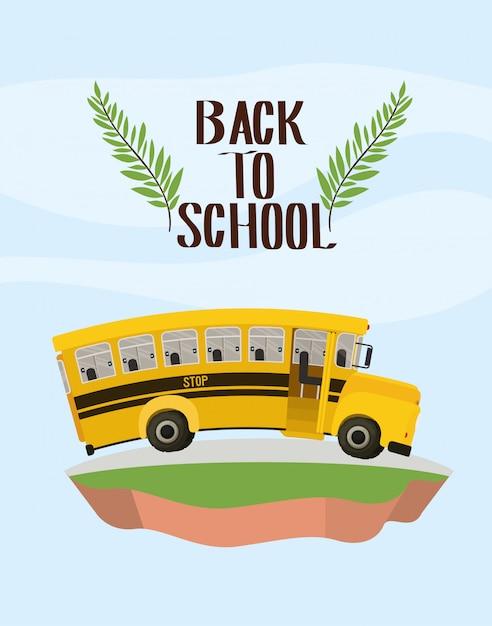 Transporte de ônibus escolar no terreno Vetor grátis